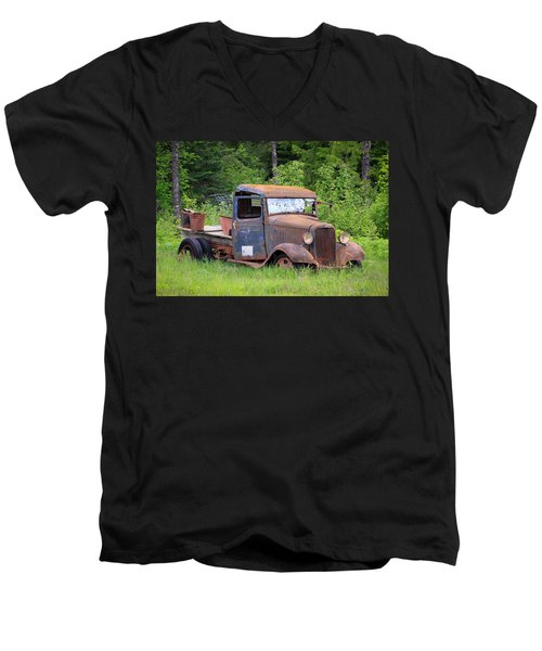 Men's V-Neck T-Shirt featuring the photograph Rusty Chevy by Steve McKinzie