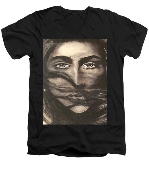 Men's V-Neck T-Shirt featuring the drawing Ryan's School Folder by Carrie Maurer