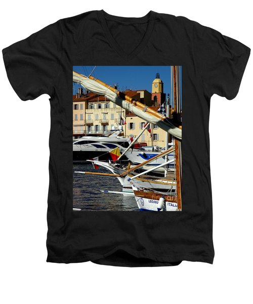 Saint Tropez Harbor Men's V-Neck T-Shirt by Lainie Wrightson