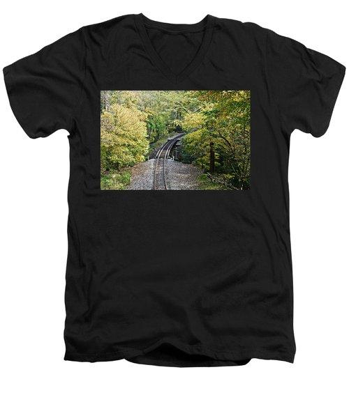 Scenic Railway Tracks Men's V-Neck T-Shirt