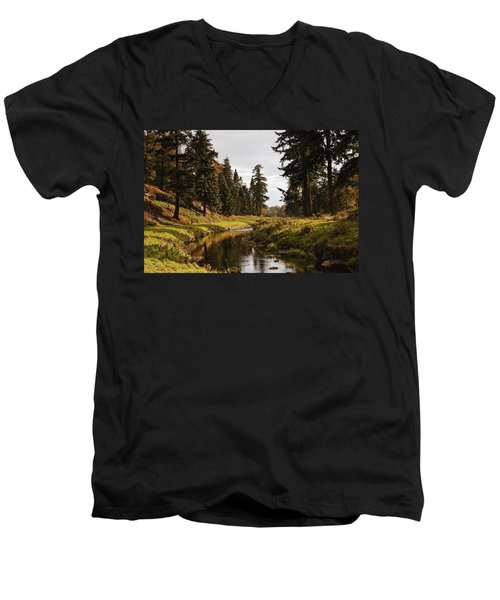 Men's V-Neck T-Shirt featuring the photograph Scenic River, Northumberland, England by John Short