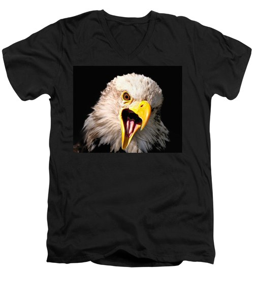 Screaming Eagle II Black Men's V-Neck T-Shirt