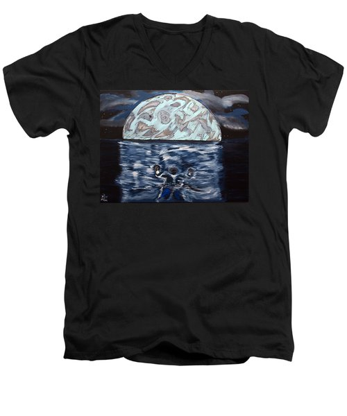 Men's V-Neck T-Shirt featuring the painting Sea Of Troubles by Lisa Brandel