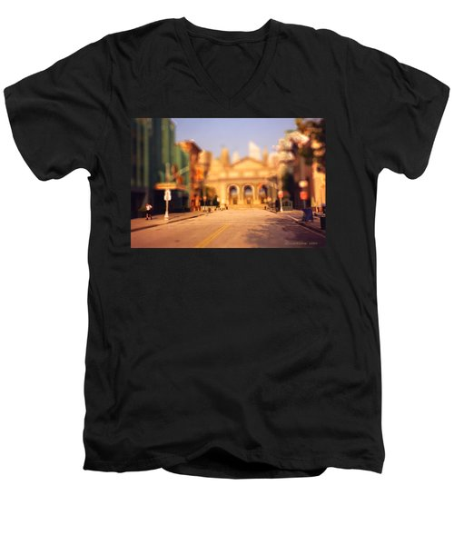 Men's V-Neck T-Shirt featuring the photograph Seaport Tiltshift by EricaMaxine  Price