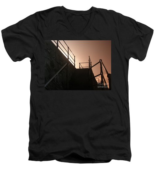 Men's V-Neck T-Shirt featuring the photograph Seaside Railings by Terri Waters