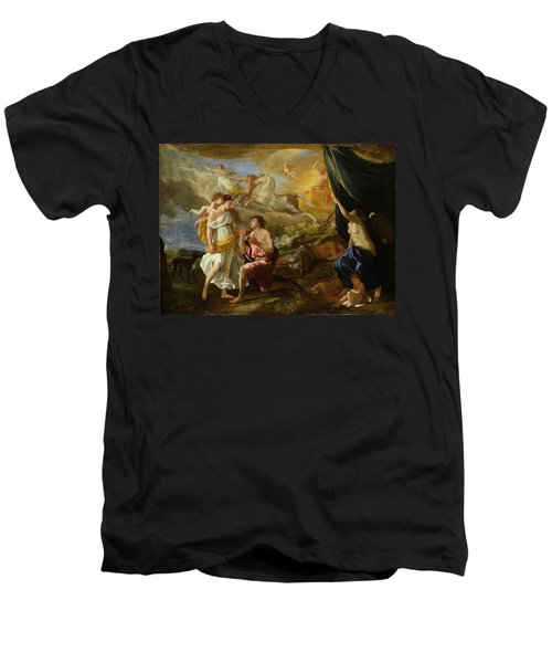 Selene And Endymion Men's V-Neck T-Shirt by Nicolas Poussin