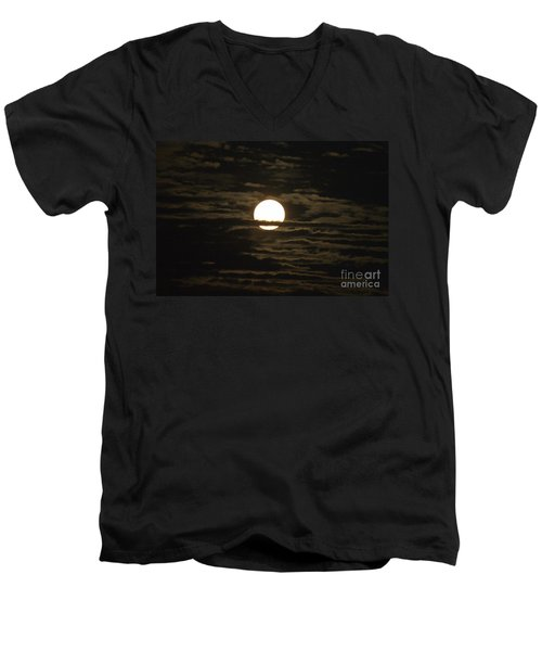 Men's V-Neck T-Shirt featuring the photograph Seneca Lake Moon by William Norton