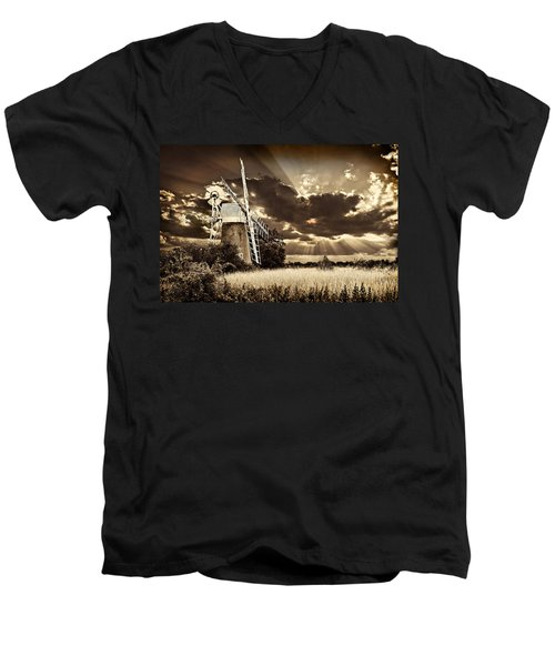 Sepia Sky Windmill Men's V-Neck T-Shirt by Meirion Matthias
