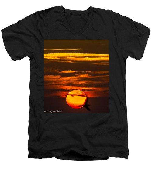 Setting Sun Flyby Men's V-Neck T-Shirt by Shannon Harrington