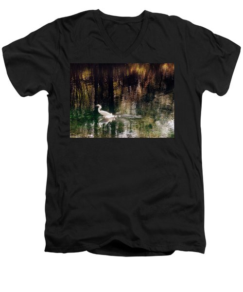 Men's V-Neck T-Shirt featuring the photograph Shadowwaters by Lydia Holly