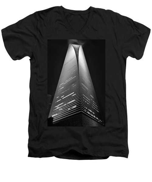 Shanghai World Financial Center Men's V-Neck T-Shirt