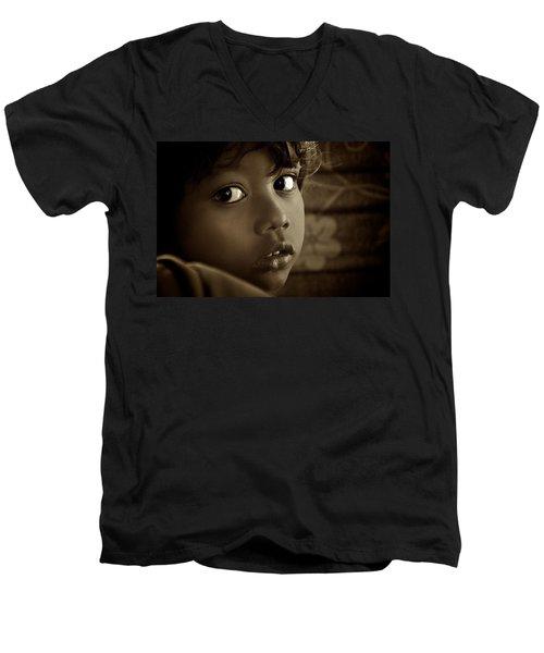 She Just Stared Men's V-Neck T-Shirt by Valerie Rosen