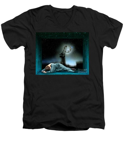 Men's V-Neck T-Shirt featuring the digital art Shrine Of Dreams by Rosa Cobos