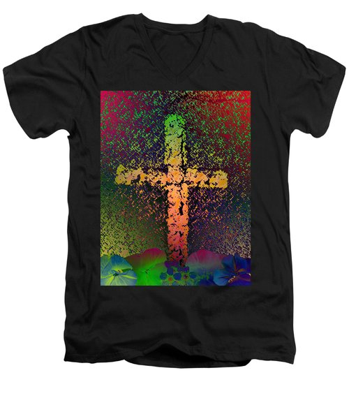 Men's V-Neck T-Shirt featuring the photograph Sign Of The Cross by David Pantuso