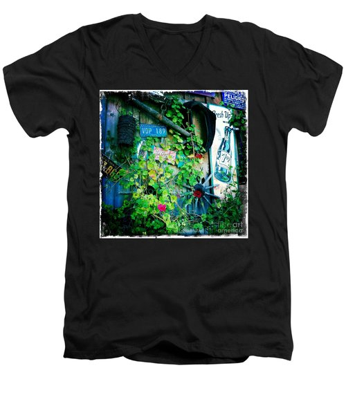 Men's V-Neck T-Shirt featuring the photograph Sign Wall by Nina Prommer