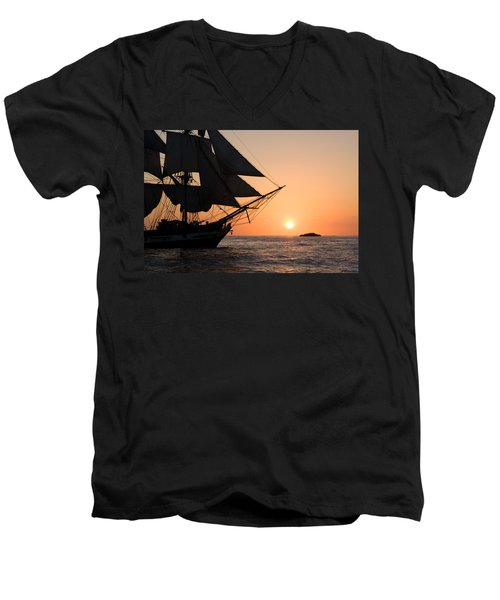 Silhouette Of Tall Ship At Sunset Men's V-Neck T-Shirt