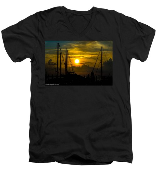 Silhouettes At The Marina Men's V-Neck T-Shirt