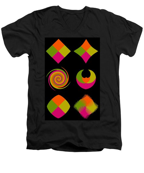 Men's V-Neck T-Shirt featuring the photograph Six Squared Collage by Steve Purnell