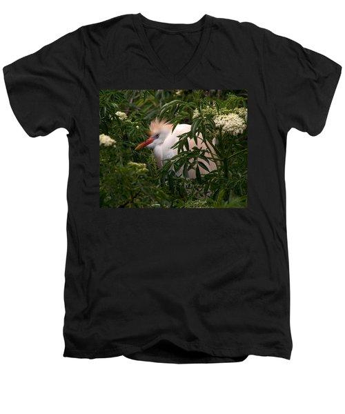 Sleepy Egret In Elderberry Men's V-Neck T-Shirt