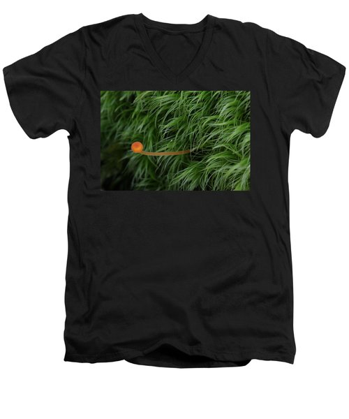 Small Orange Mushroom In Moss Men's V-Neck T-Shirt