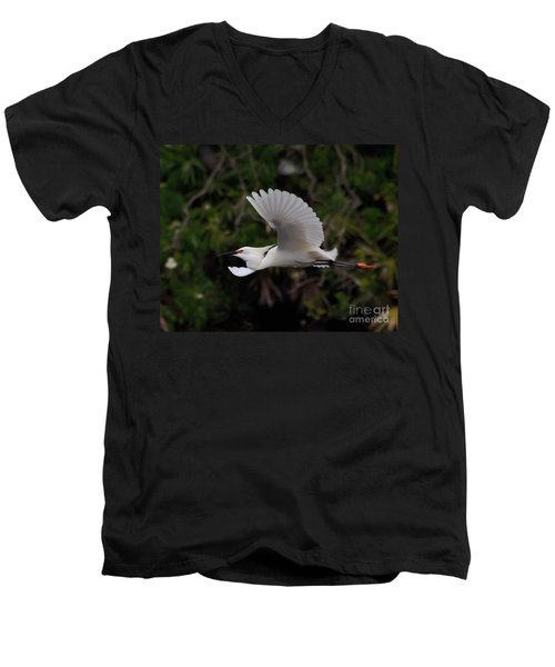 Snowy Egret In Flight Men's V-Neck T-Shirt