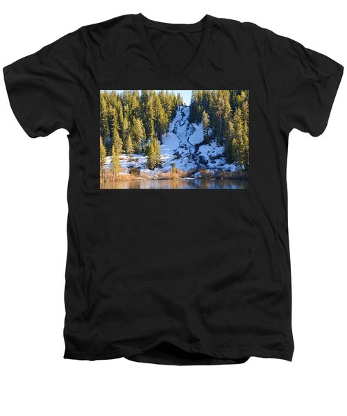 Men's V-Neck T-Shirt featuring the photograph Snowy Heart Falls by Lynn Bauer