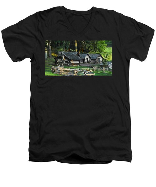 Soldiers Quarters At Valley Forge Men's V-Neck T-Shirt by Cindy Manero