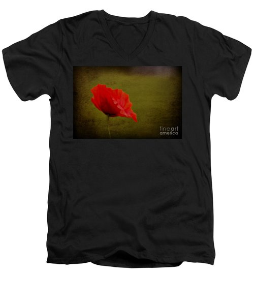 Men's V-Neck T-Shirt featuring the photograph Solitary Poppy. by Clare Bambers