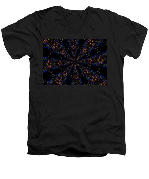 Men's V-Neck T-Shirt featuring the digital art Space Flower by Alec Drake