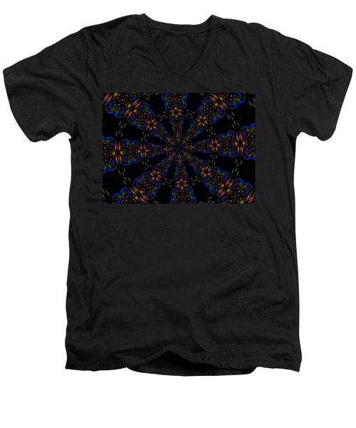 Space Flower Men's V-Neck T-Shirt by Alec Drake
