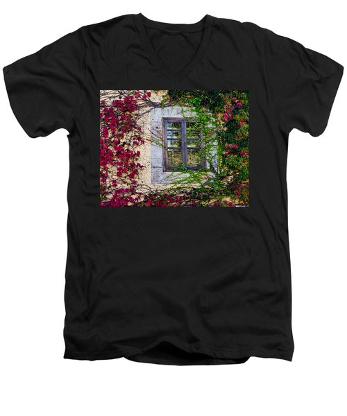 Men's V-Neck T-Shirt featuring the photograph Spanish Window by Don Schwartz