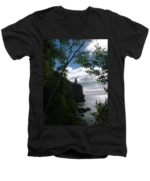 Men's V-Neck T-Shirt featuring the photograph Split Rock II by Bonfire Photography