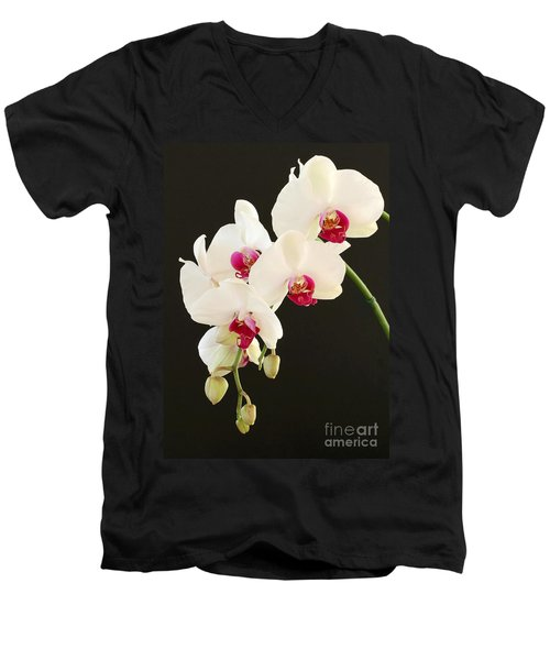 Spray Of White Orchids Men's V-Neck T-Shirt