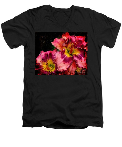 Men's V-Neck T-Shirt featuring the photograph Spring Blooms by Davandra Cribbie