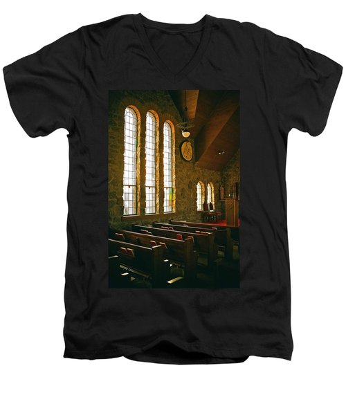 Men's V-Neck T-Shirt featuring the photograph St Malo Church by David Pantuso