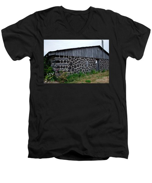 Men's V-Neck T-Shirt featuring the photograph Stacked Block Barn by Barbara McMahon