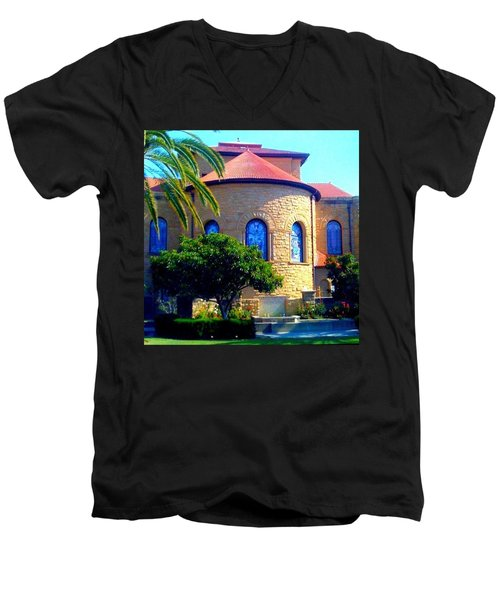 Stanford University Chapel - Palo Alto Ca Men's V-Neck T-Shirt by Anna Porter