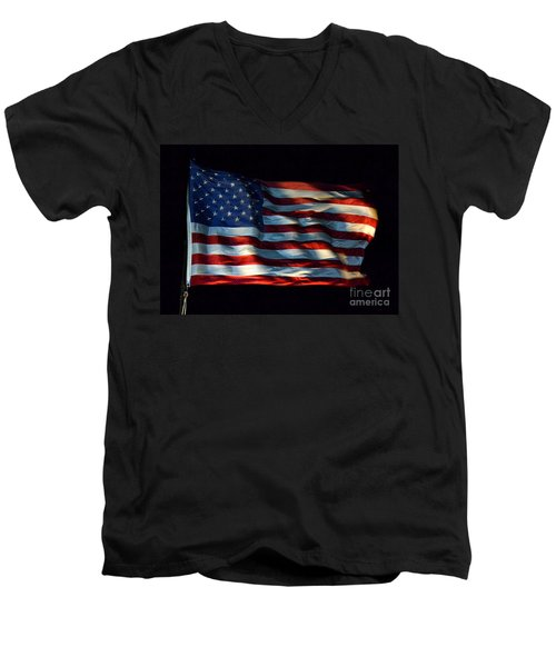 Stars And Stripes At Night Men's V-Neck T-Shirt by Kevin Fortier
