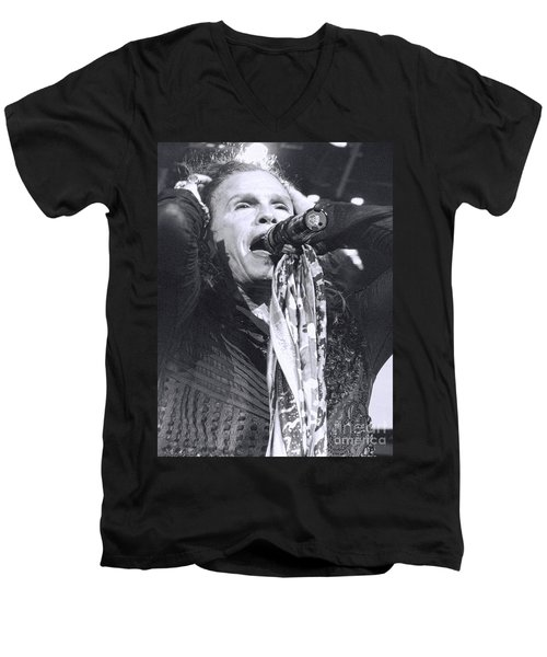 Men's V-Neck T-Shirt featuring the photograph Steven Tyler Rocks It by Traci Cottingham