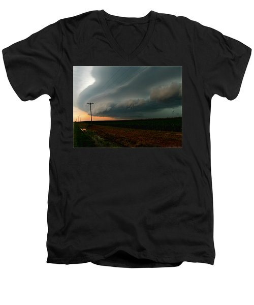 Men's V-Neck T-Shirt featuring the photograph Storm Front by Debbie Portwood