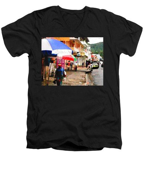 Street Scene In Rosea Dominica Filtered Men's V-Neck T-Shirt
