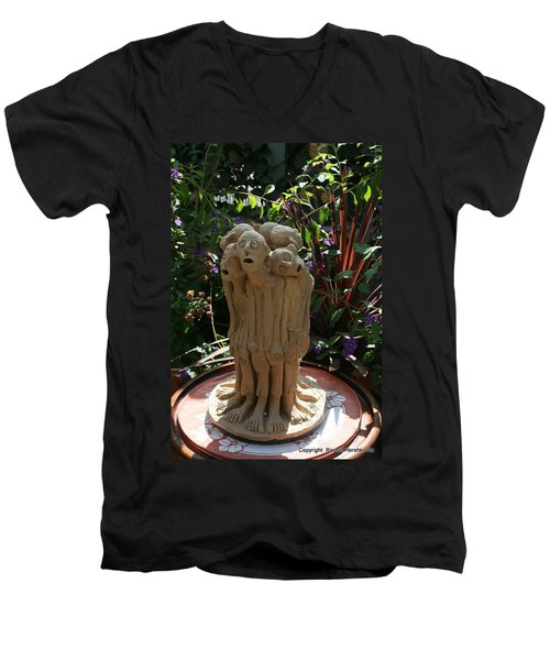 Suffering Circle Ceramic Sculpture Brown Clay  Men's V-Neck T-Shirt by Rachel Hershkovitz