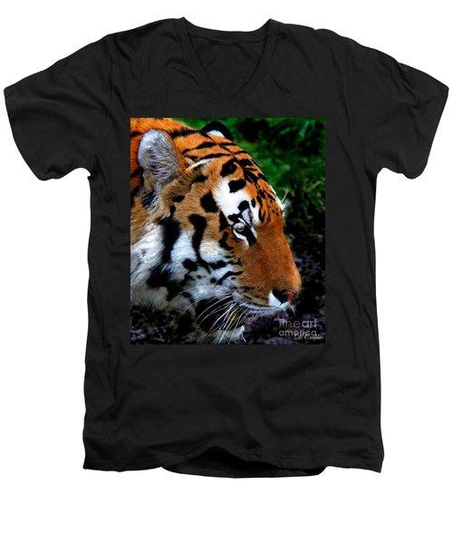 Men's V-Neck T-Shirt featuring the photograph Sumatran Strength by Davandra Cribbie