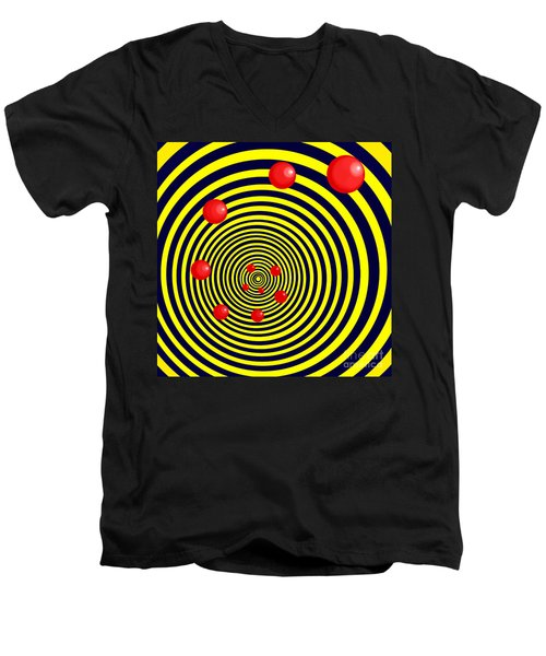 Summer Red Balls With Yellow Spiral Men's V-Neck T-Shirt