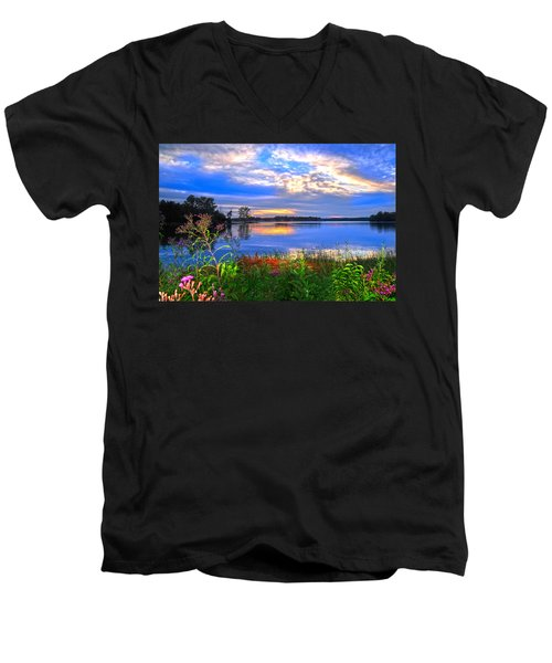 Men's V-Neck T-Shirt featuring the photograph Summertime Walk Around Lake  by Randall Branham