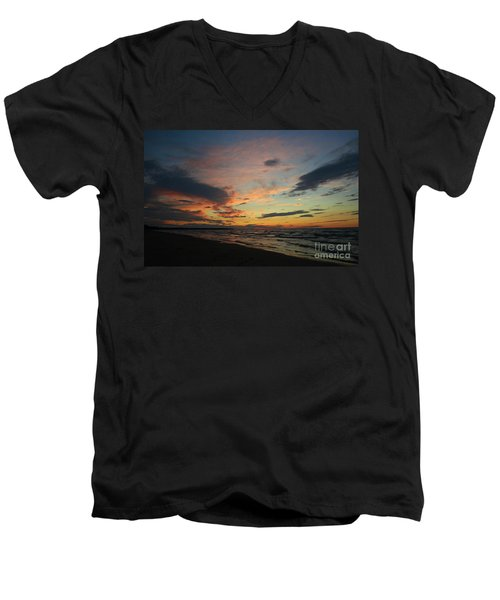 Men's V-Neck T-Shirt featuring the photograph Sundown  by Barbara McMahon