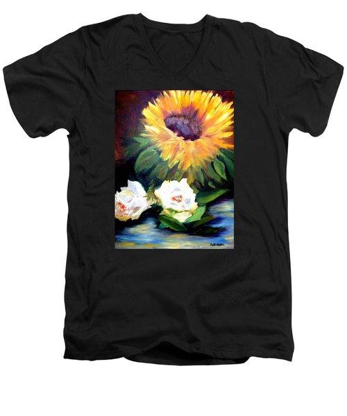 Sunflower And White Roses Men's V-Neck T-Shirt by Patti Gordon