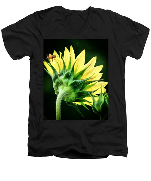 Men's V-Neck T-Shirt featuring the photograph Sunflower With Bee by Lynne Jenkins