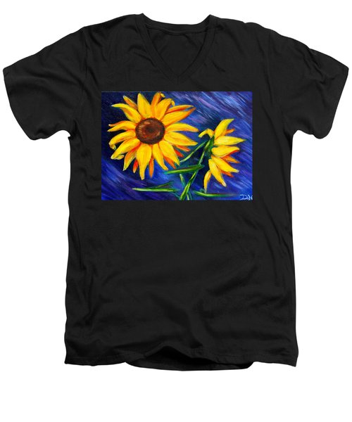 Sunflowers Men's V-Neck T-Shirt by Diana Haronis