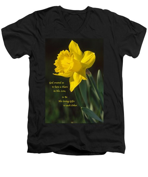 Sunny Daffodil With Quote Men's V-Neck T-Shirt